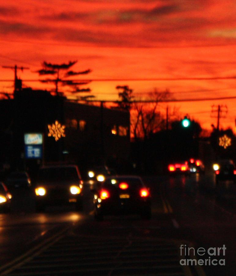 Red Winter Sunset Over Long Island Suburbs Photograph - Red Winter Sunset Over Long Island Suburbs by John Telfer