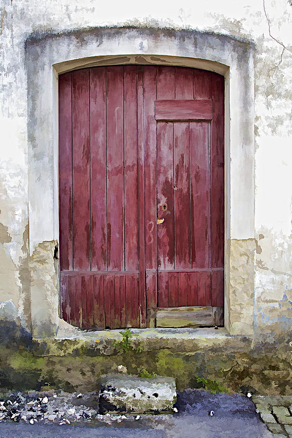 Arch Photograph - Red Wood Door Of The Medieval Village Of Pombal by David Letts