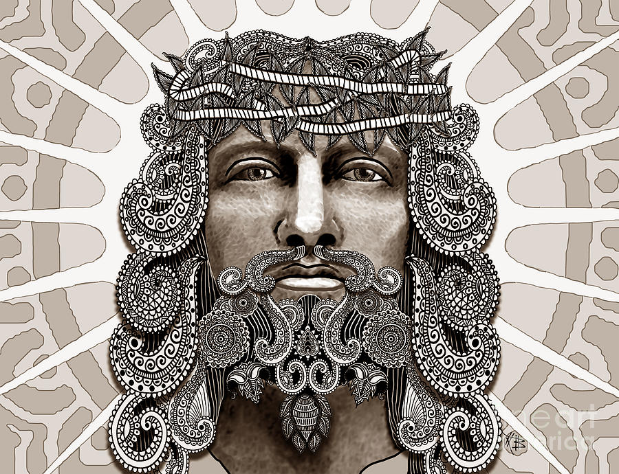 Jesus Mixed Media - Redeemer - Modern Jesus Iconography - Copyrighted by Christopher Beikmann