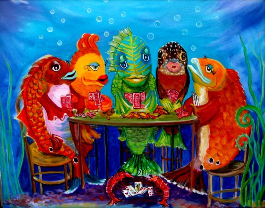 Funky Fish Painting - Redfish Poker II by Linda Kegley