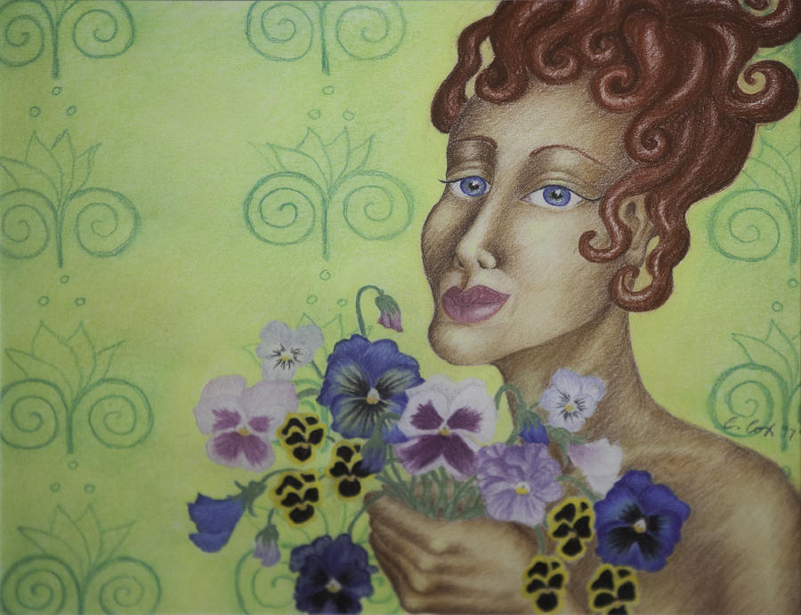 Woman Painting - Redhead Holding Pansies by Claudia Cox