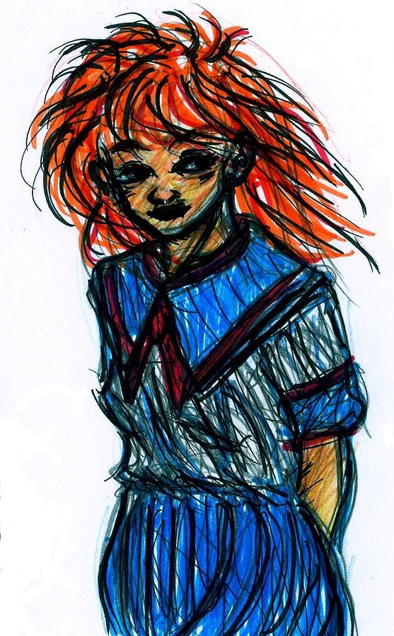 Redhead Drawing - Redhead II by Rachel Scott