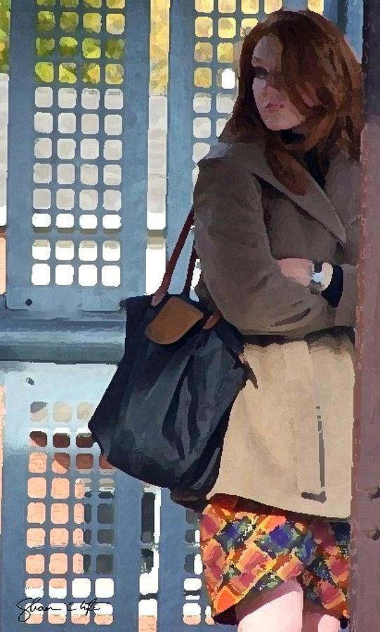 Redhead Digital Art - Redhead On Brown Line by Shawn Lyte