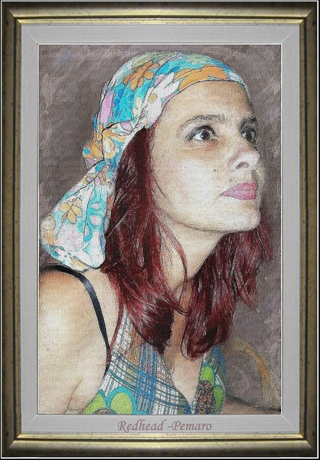 Portrait Painting - Redhead by Pemaro