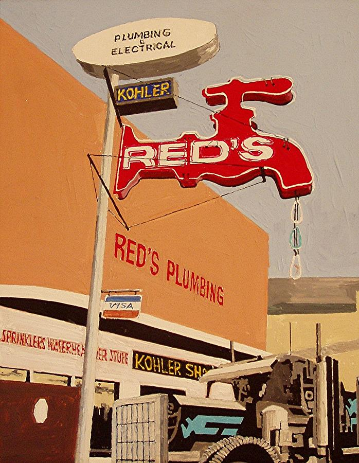 Sacramento Painting - Reds Plumbing by Paul Guyer