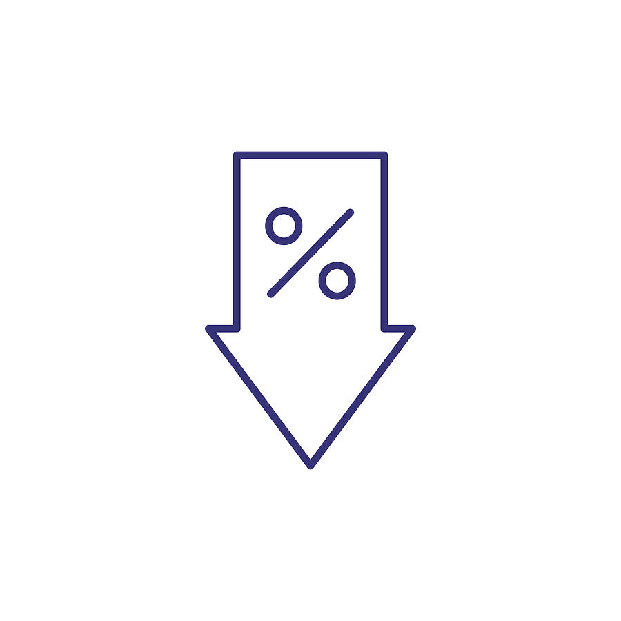 Reduction Of Percent Line Icon