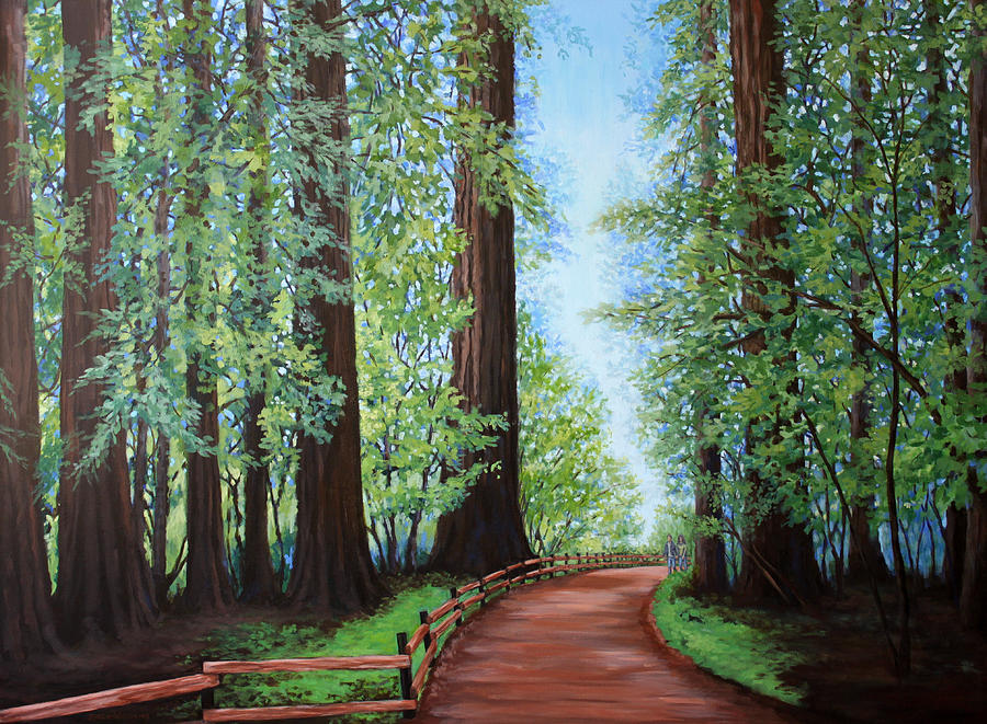 Redwood Trees Painting - Redwood Forest Path by Penny Birch-Williams
