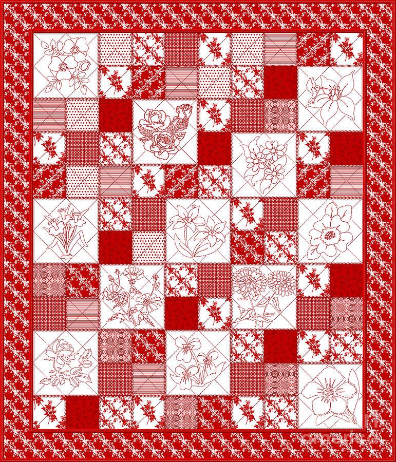 Redwork Floral Quilt Digital Art by Margaret Newcomb