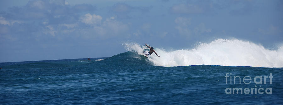 Surf Photograph - Reef Surfer Moorea Panorama by Camilla Brattemark