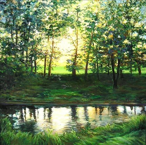 Dusk Painting - Reflecting At Dusk by Denise Ivey Telep