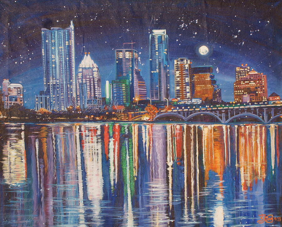 City Painting - Reflecting Austin by Suzanne King