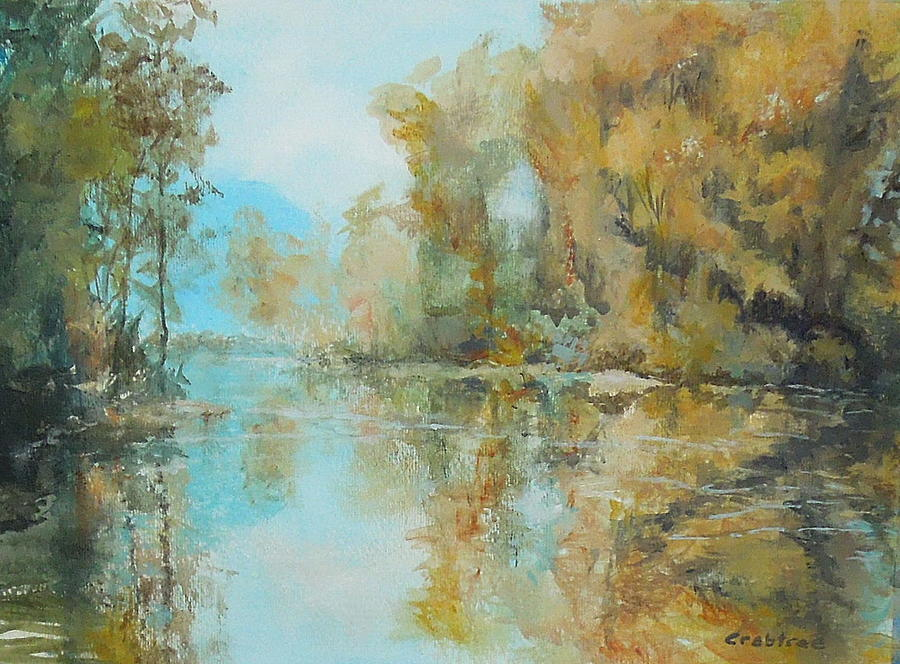 Fall Landscape Painting - Reflecting On Reflections by Elizabeth Crabtree