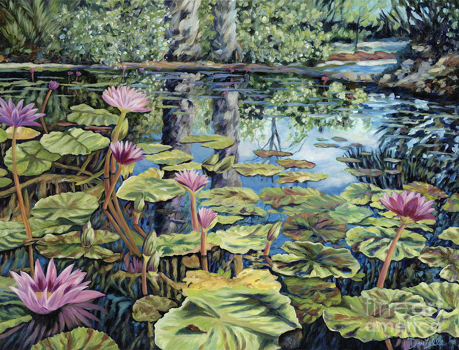 Lilly Pond Painting - Reflecting Pond by Danielle  Perry