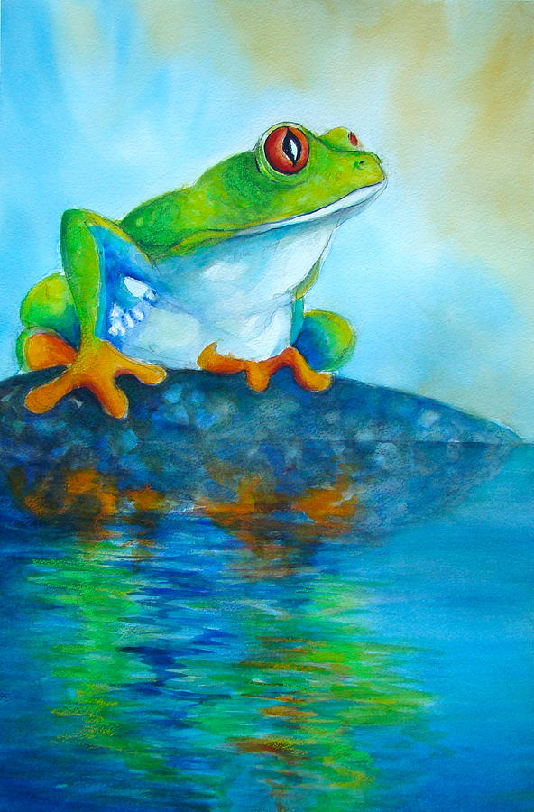 Frog Painting - Reflecting Red-eyed Tree  Frog  by Myra Evans