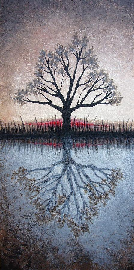 Tree Painting - Reflecting Tree by Janet King