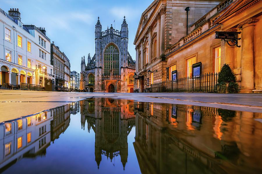 Reflection, Bath Abbey, Roman Baths Photograph by Joe Daniel Price