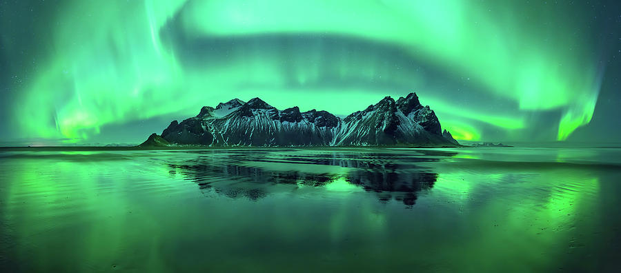 Horizontal Photograph - Reflection Of Aurora Borealis by Panoramic Images