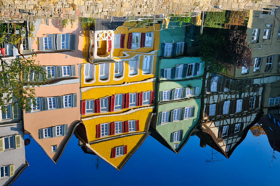 Reflection Photograph - Reflection Of Colorful Houses In Neckar River Tuebingen Germany by Matthias Hauser