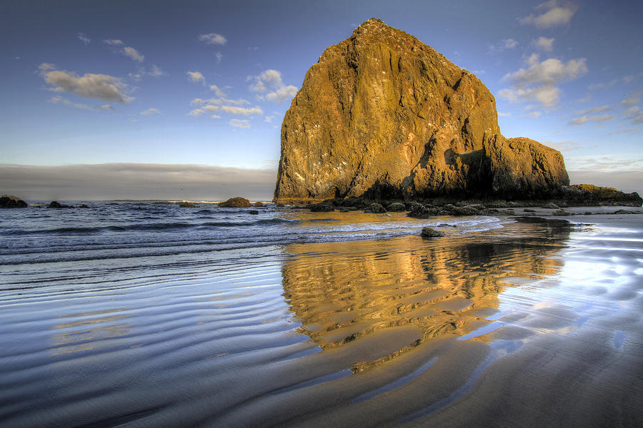 Reflection Photograph - Reflection of Haystack Rock at Cannon Beach 2 by David Gn