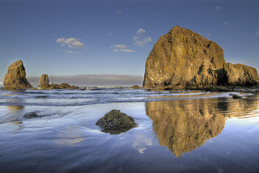 Reflection Photograph - Reflection of Haystack Rock at Cannon Beach 3 by David Gn