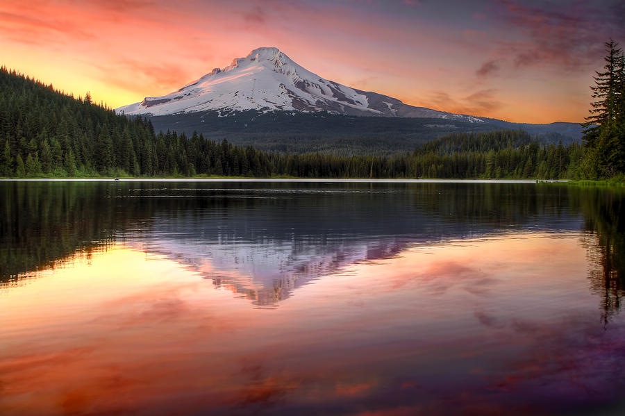 Reflection Photograph - Reflection Of Mount Hood On Trillium Lake At Sunset by David Gn