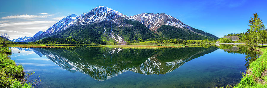 Horizontal Photograph - Reflection Of Mountains In Tern Lake by Panoramic Images