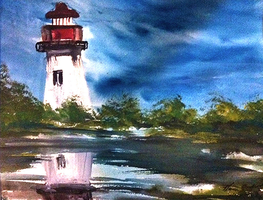 Reflection Of One Island North Painting by Karen  Condron