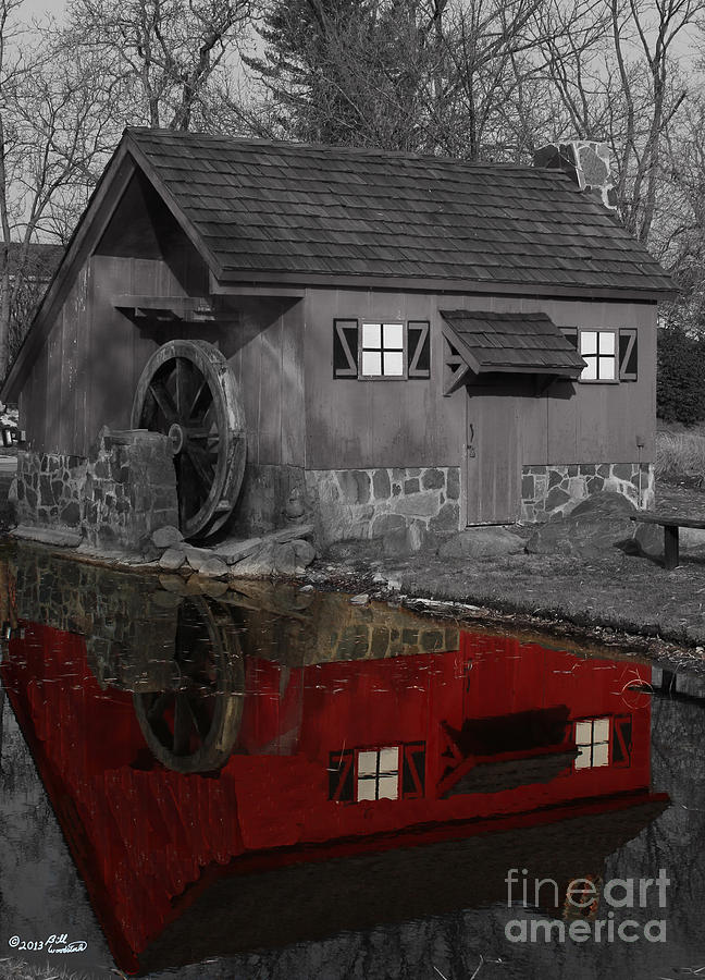 Colorkey Photograph - Reflection Of Red Mill by Bill Woodstock