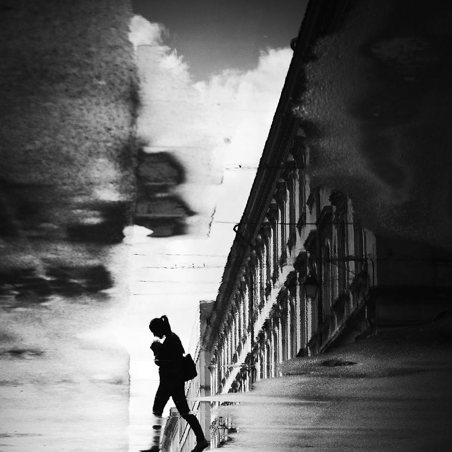 Reflection Photograph - Reflection On The Street by Dragoslav S.