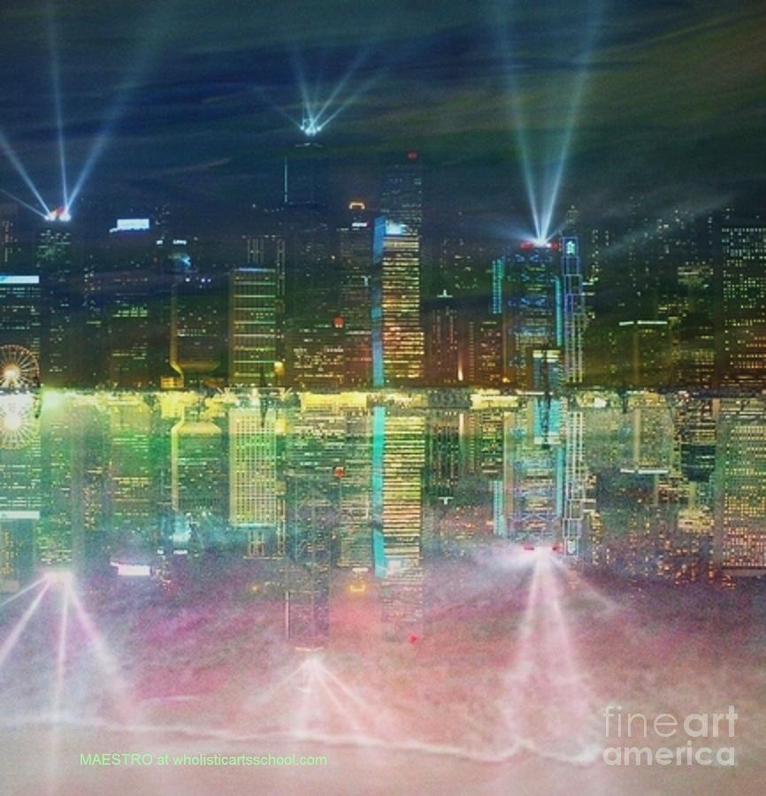 Skyline Digital Art - Reflection Water Skyline by PainterArtist FIN