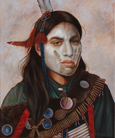 American Indian Painting - Reflections_ American Indian By K Henderson  by K Henderson