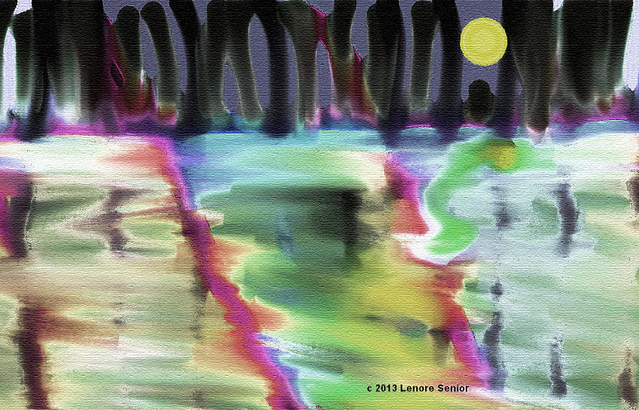 Expressive Painting - Reflections At Midnight by Lenore Senior