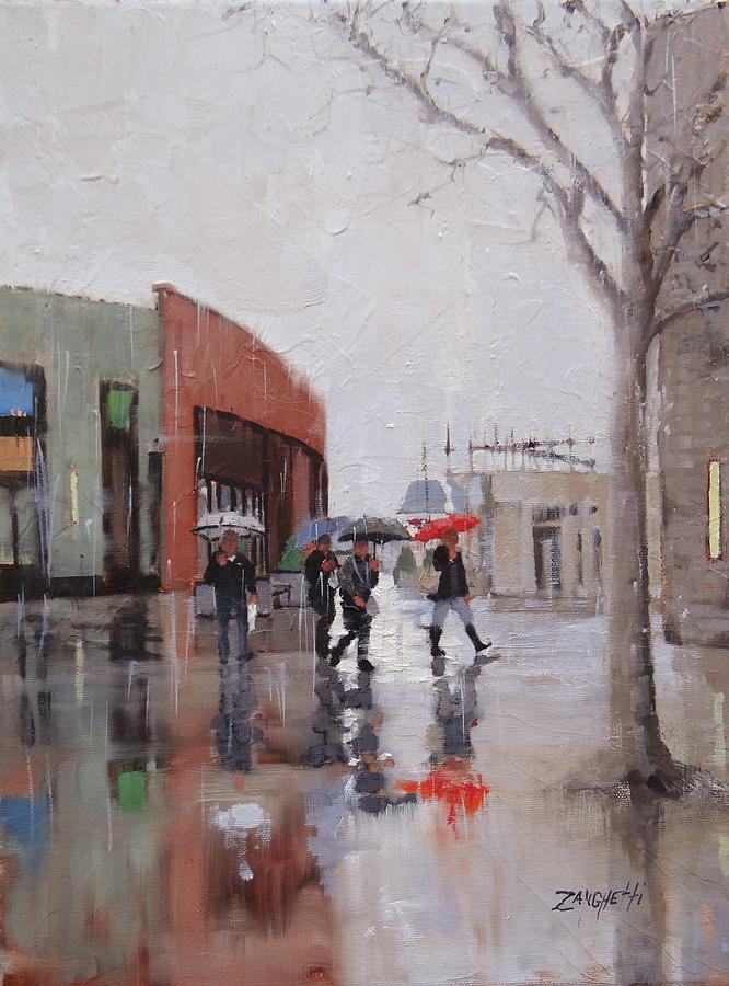 Rain Painting - Reflections At Patriot Place by Laura Lee Zanghetti