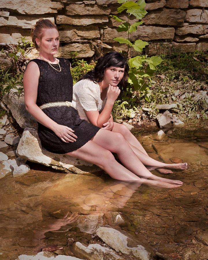 Girls Photograph - Reflections At Waters Edge by Don Krajewski