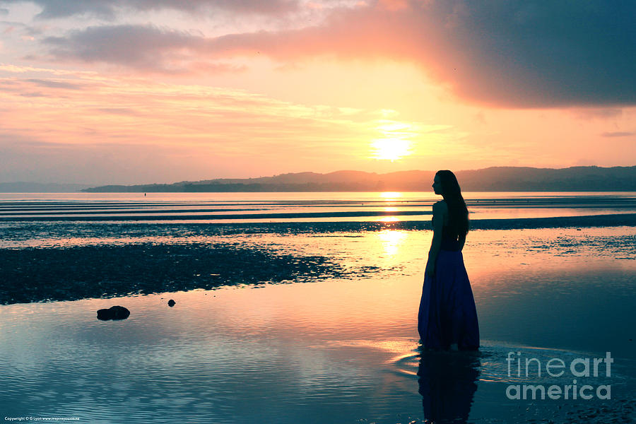 Girl Photograph - Reflections By The Sea by Gee Lyon