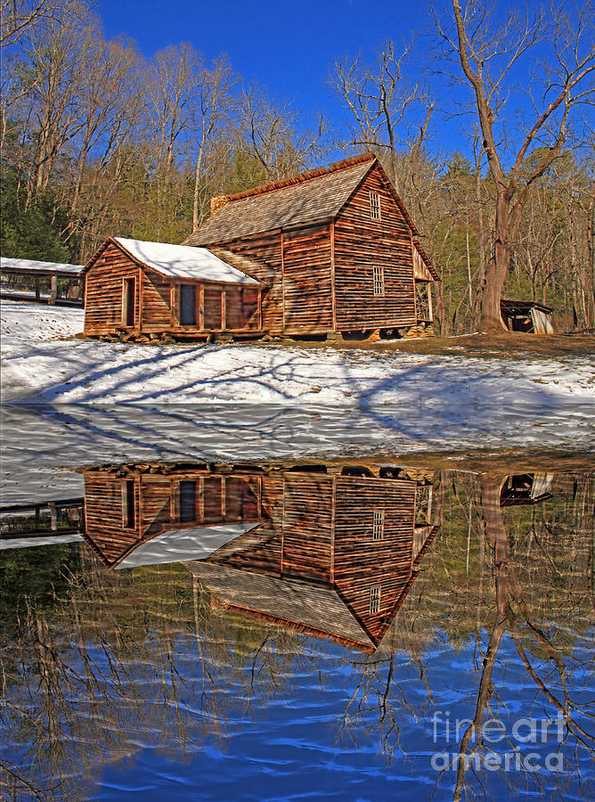 Log Cabin Photograph - Reflections by Geraldine DeBoer