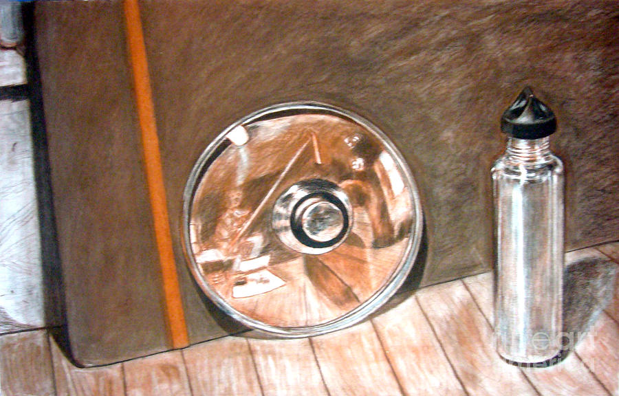 Reflection Drawing - Reflections In Glass And Steel A Still Life by Mukta Gupta