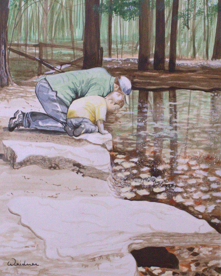 Father Painting - Reflections by Kathy Weidner
