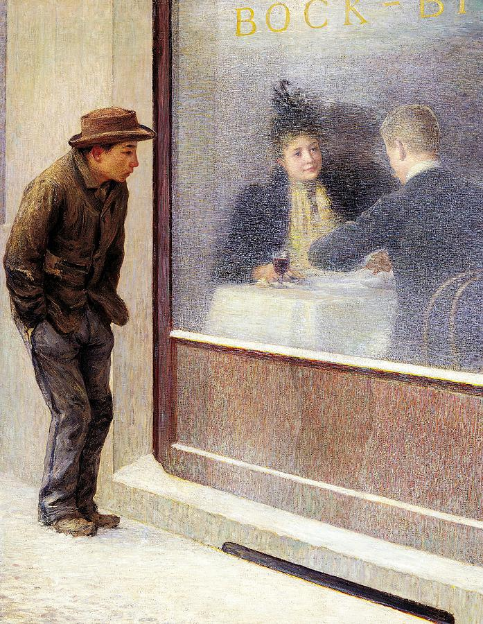 Neo-impressionism Painting - Reflections Of A Hungry Man Or Social Contrasts by Emilio Longoni