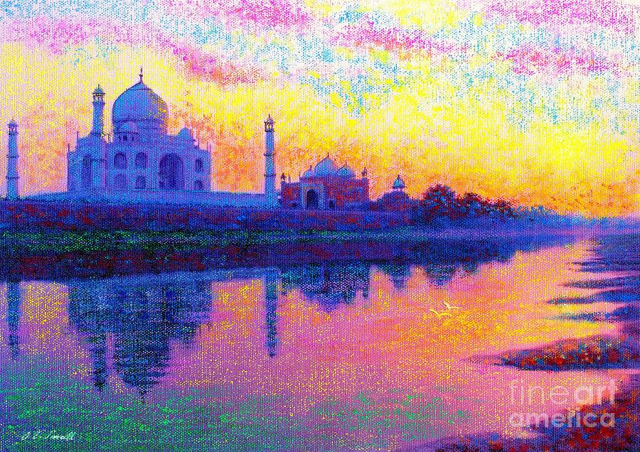 Taj Painting - Taj Mahal, Reflections of India by Jane Small