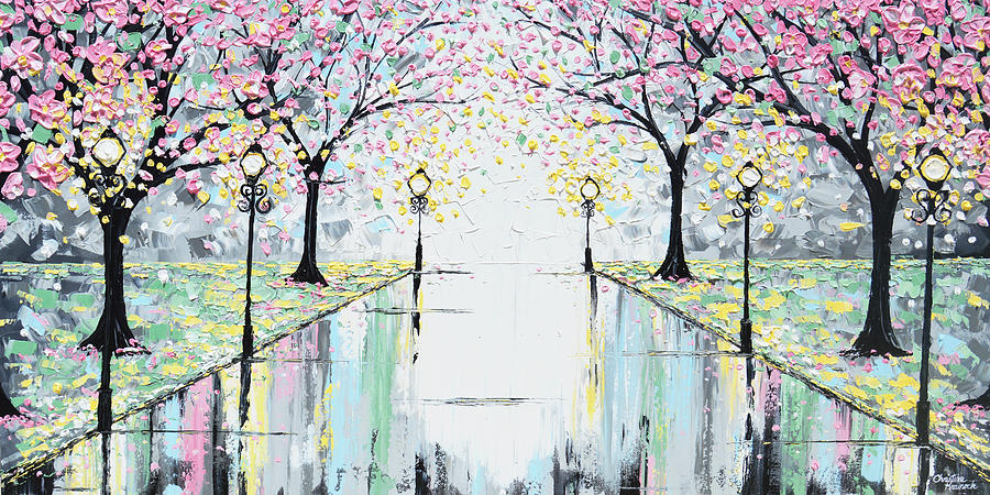 reflections of springtime pink cherry trees painting by christine