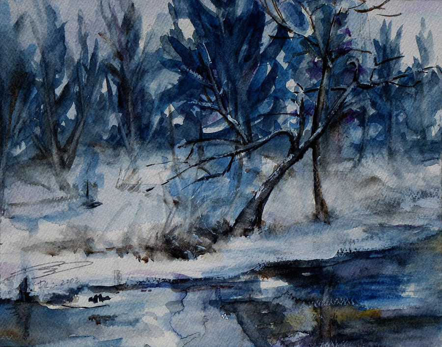 Landscape Painting - Reflections Of Winter by Xueling Zou