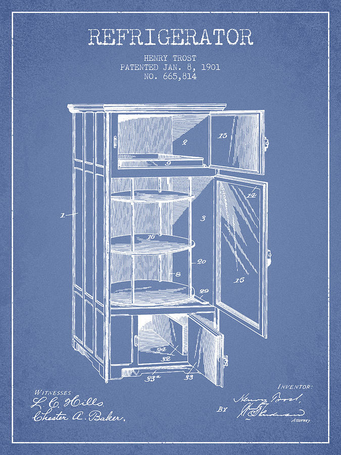Refrigerator Digital Art - Refrigerator Patent From 1901 - Light Blue by Aged Pixel