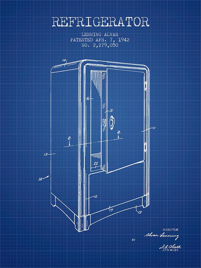 Fridge Digital Art - Refrigerator Patent From 1942 - Blueprint by Aged Pixel