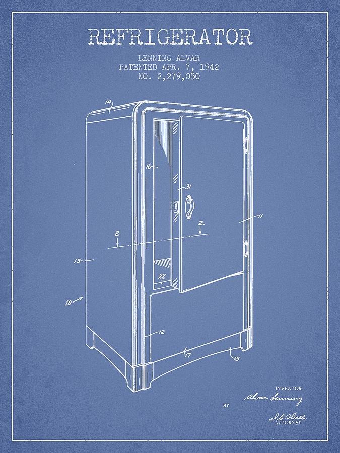 Fridge Digital Art - Refrigerator Patent From 1942 - Light Blue by Aged Pixel