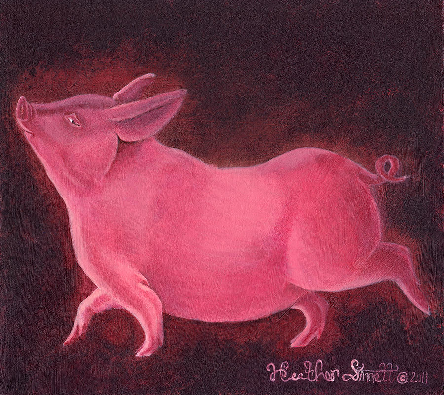 Pig Painting - Regal Hog by Heather Stinnett