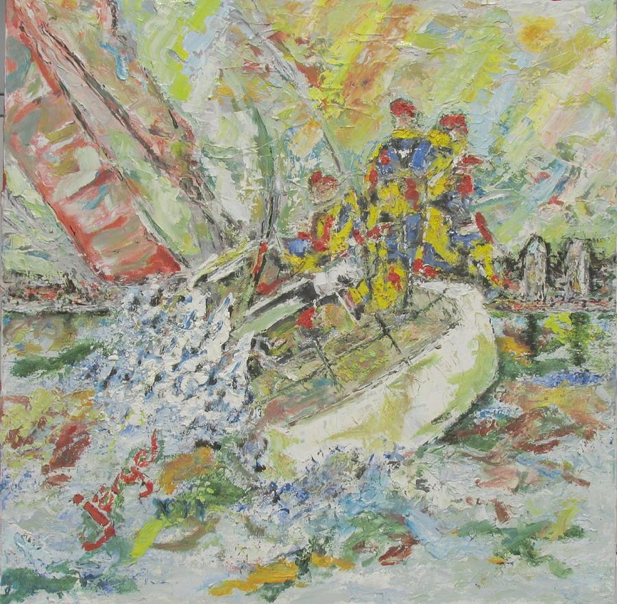 Water Painting - Regatta On The Bay by Jorge Garaza