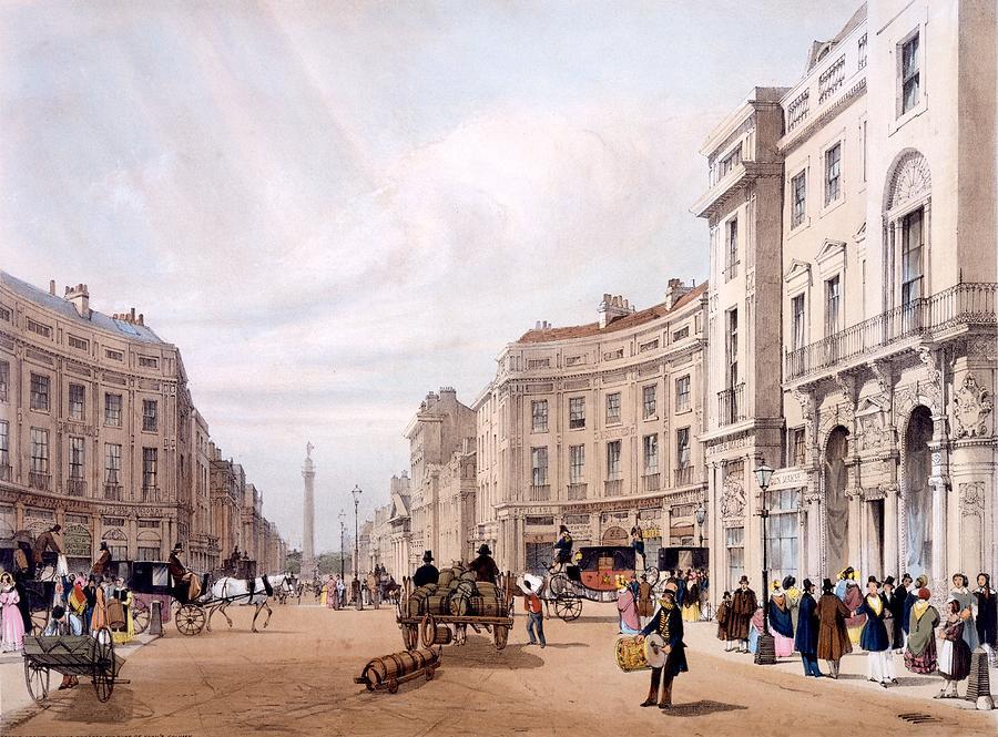 Regent Street Drawing - Regent Street, Looking Towards The Duke by Thomas Shotter Boys