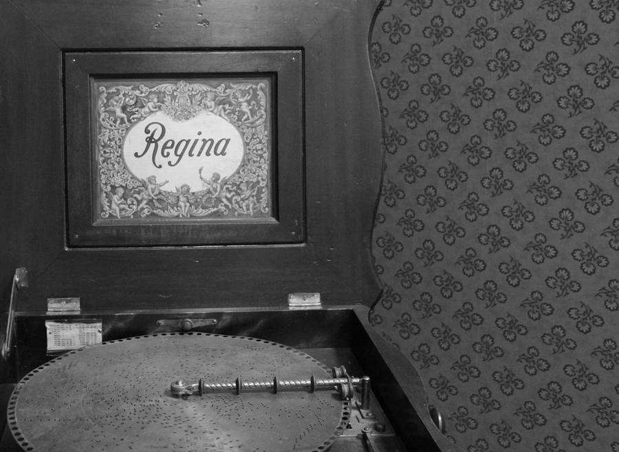 Regina Record Player Black And White Photograph