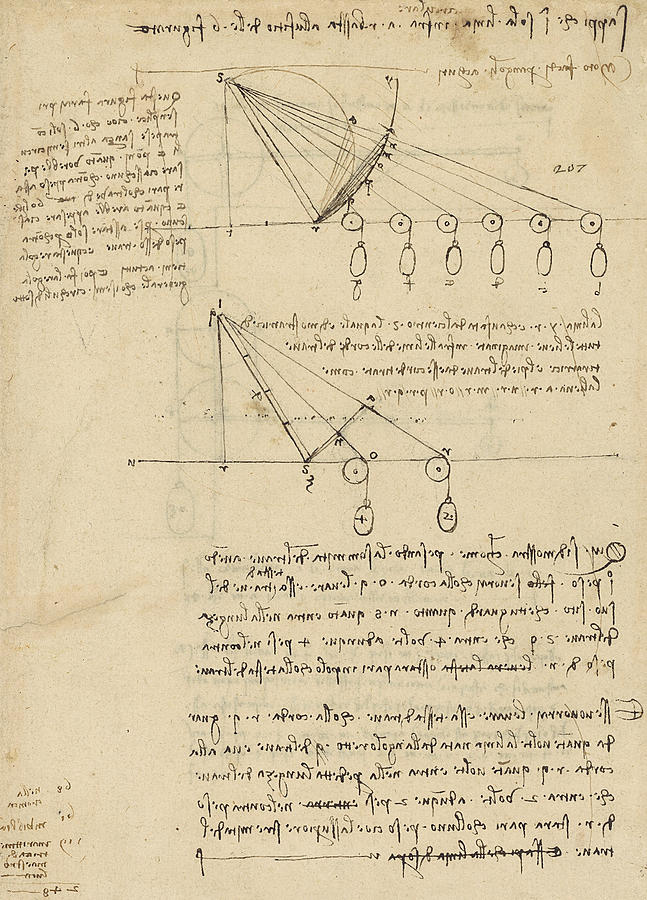 Leonardo Drawing - Register Of Milan Cathedral Weight And Study Of Relationship Between Position Of Beam by Leonardo Da Vinci